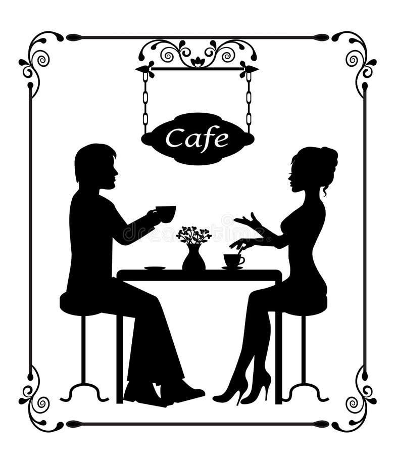 Schattenbilder eines liebevollen Paares im Café- und Weinleserahmen vektor abbildung
