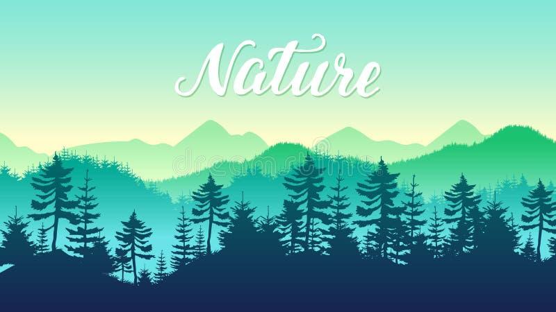 Schattenbilder Koniferenwald und Berge gestalten Reiselandschaftshintergrund landschaftlich Naturumweltmorgensonnenaufgang-Konzep stockfoto