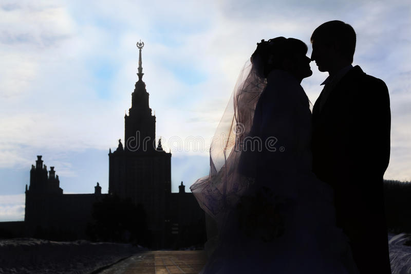 Schattenbilder und Profile der Braut und des Bräutigams stockbild