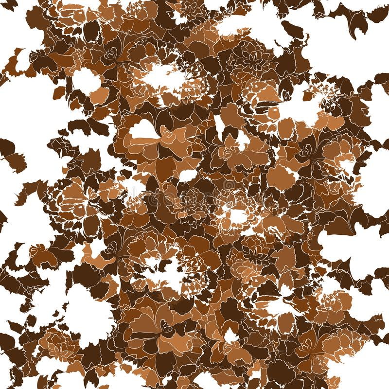 Schattenbilder von abstrakten braunen Blumen auf weißem Hintergrund stock abbildung