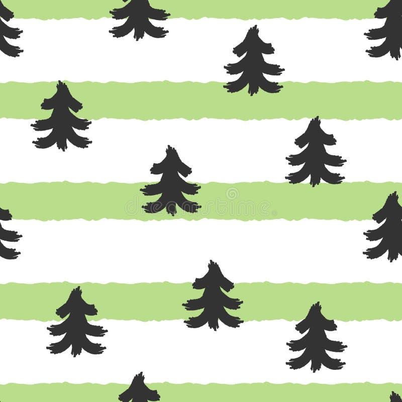 Schattenbilder von Bäumen auf gestreiftem Hintergrund Nahtloses Muster stock abbildung