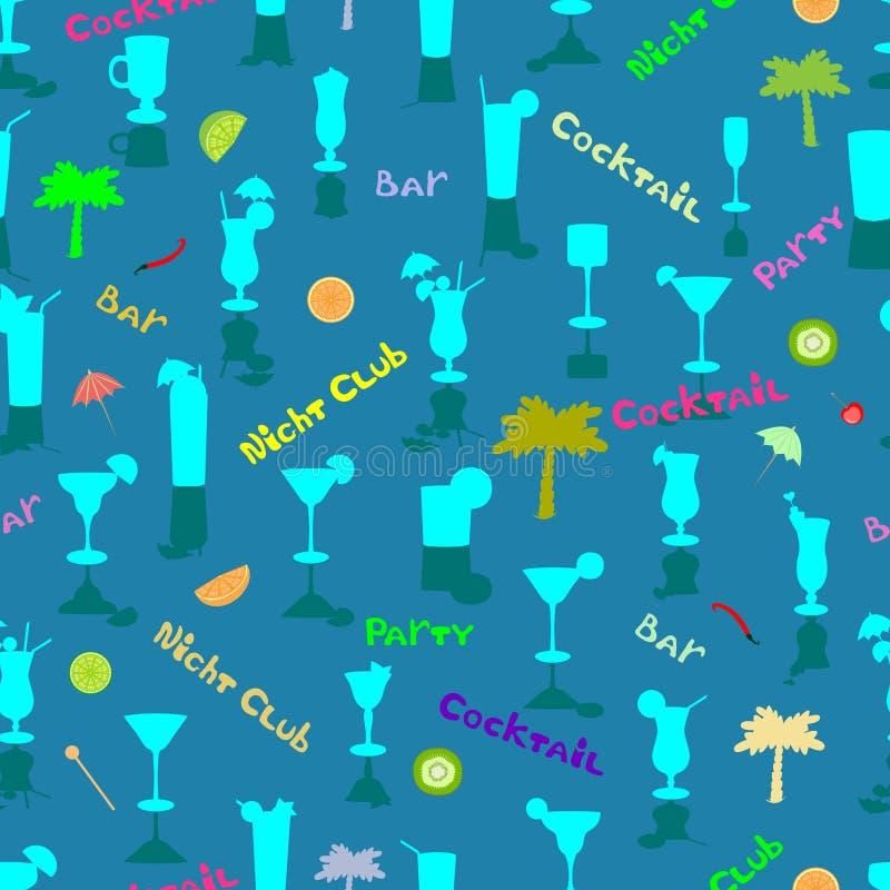 Schattenbilder von Cocktails in einem bunten nahtlosen Muster stock abbildung