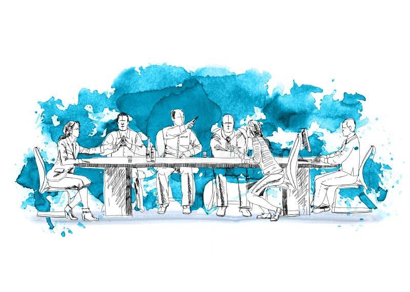 Schattenbilder von den erfolgreichen Geschäftsleuten, die an Sitzung arbeiten Skizze mit bunten Wasserfarbeffekten lizenzfreie abbildung