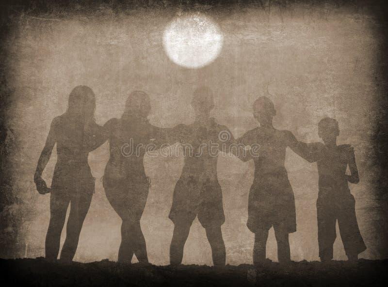 Schattenbilder von den Jungen und von Mädchen, die auf dem Strand am sonnigen Sommertag umarmen vektor abbildung