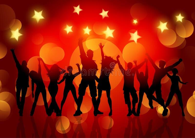 Schattenbilder von den Leuten, die auf bokeh Licht- und Sternhintergrund tanzen lizenzfreie abbildung