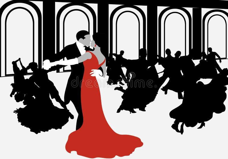 Schattenbilder von den Paaren, die den Walzer tanzen vektor abbildung