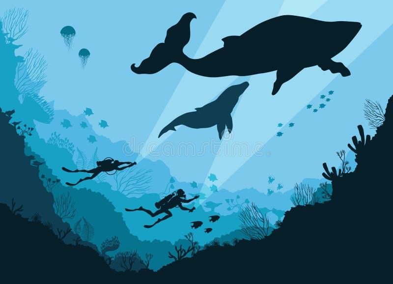 Schattenbilder von den Tauchern Unterwasser stock abbildung