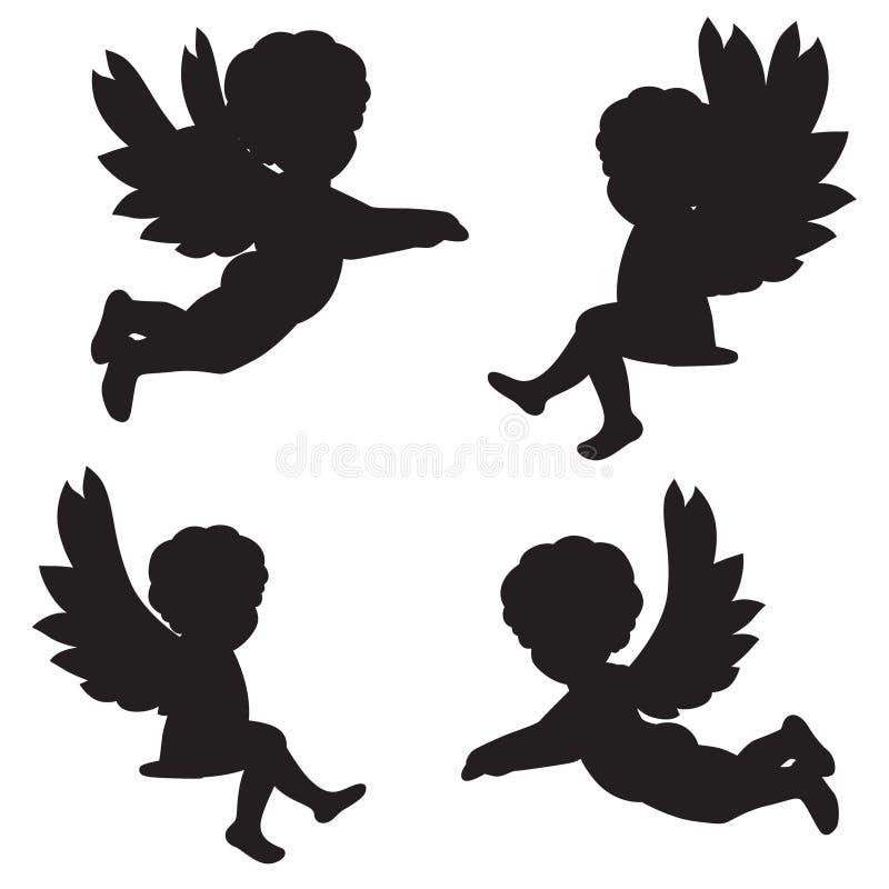 Schattenbilder von Engeln lizenzfreie abbildung