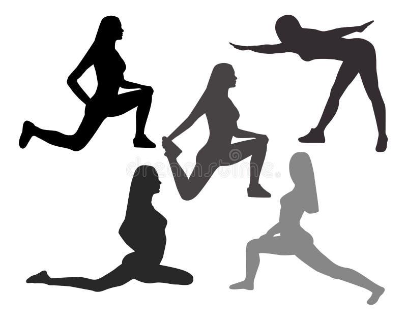 Schattenbilder von Frauen in den Yogahaltungen und in den Sportübungen auf einem Whit vektor abbildung