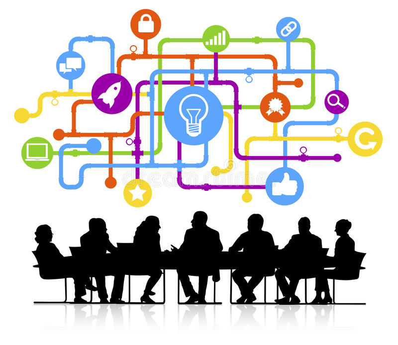 Schattenbilder von Geschäftsleuten und von Ideen-Konzepten vektor abbildung