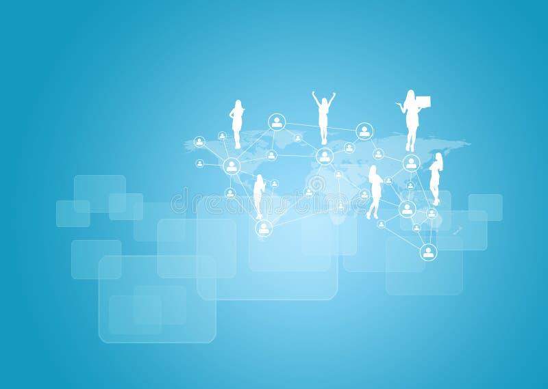 Schattenbilder von Geschäftsleuten, von Netz und von Welt vektor abbildung