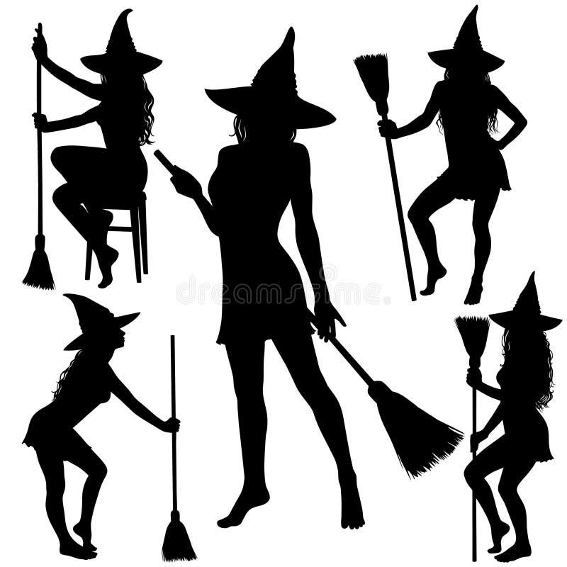 Schattenbilder Von Halloween-Hexe Stehend Mit Besenstiel Vektor ...