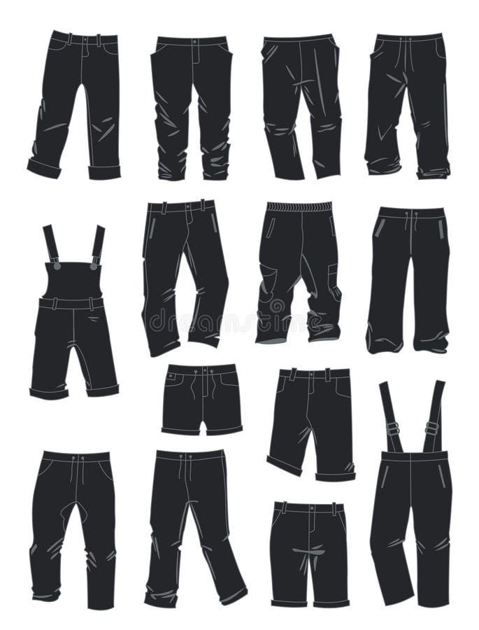 Schattenbilder von Hosen für Jungen stock abbildung