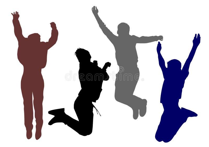 Schattenbilder von jungen glücklichen Jungen, die in Höhe und in Freiheit springen, glauben von dieser Freude stock abbildung