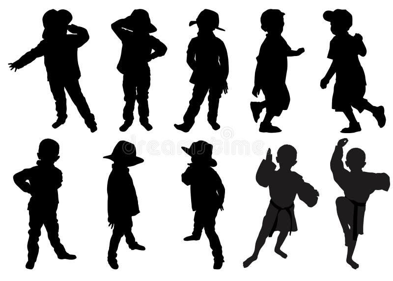 Schattenbilder von kleinen Jungen stock abbildung