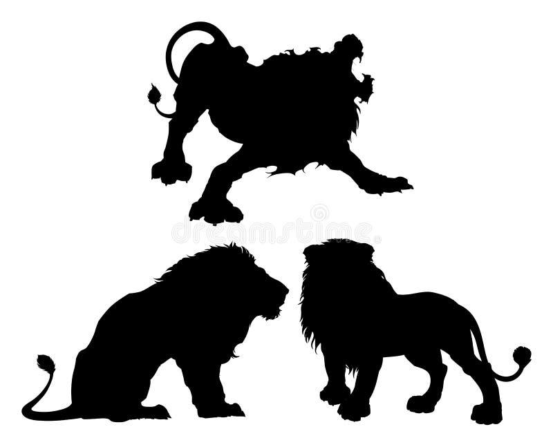 Schattenbilder von Löwen in drei verschiedenen Haltungen lizenzfreie abbildung