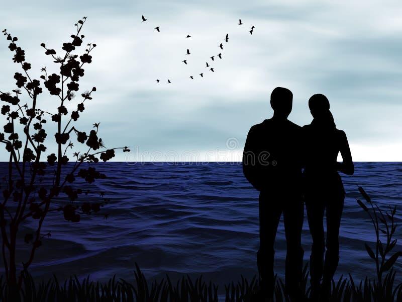 Schattenbilder von Leuten bei einem romantischen Sonnenuntergang durch das Meer stock abbildung