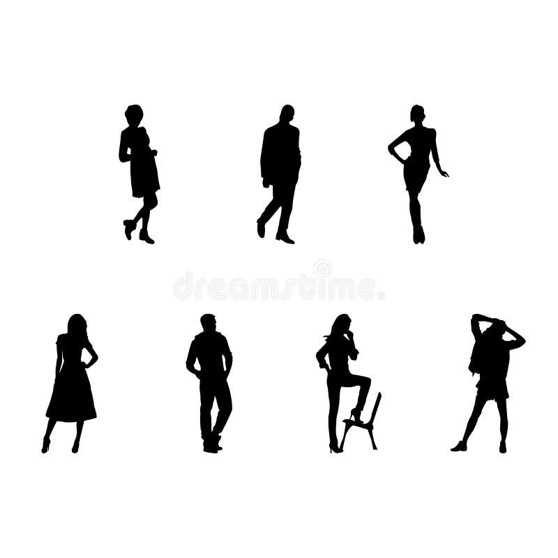 Schattenbilder von Männern und von Frauen arbeiten Illustration Jpg um stock abbildung