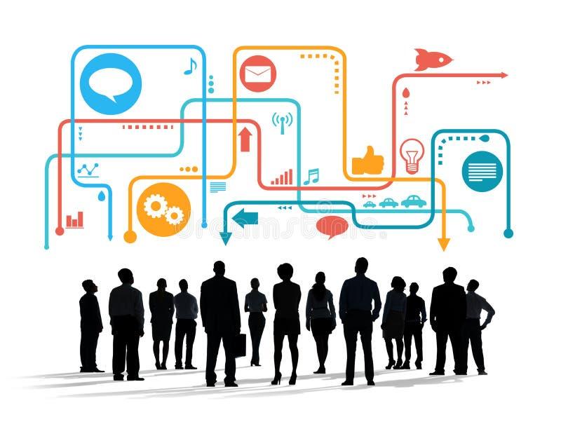 Schattenbilder von multiethnischen Geschäftsleuten mit Social Media Sym vektor abbildung