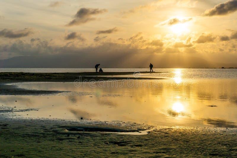 Schattenbilder von unerkennbaren Leuten auf dem Strand bei Sonnenuntergang mit dem ruhigen See stockfotografie