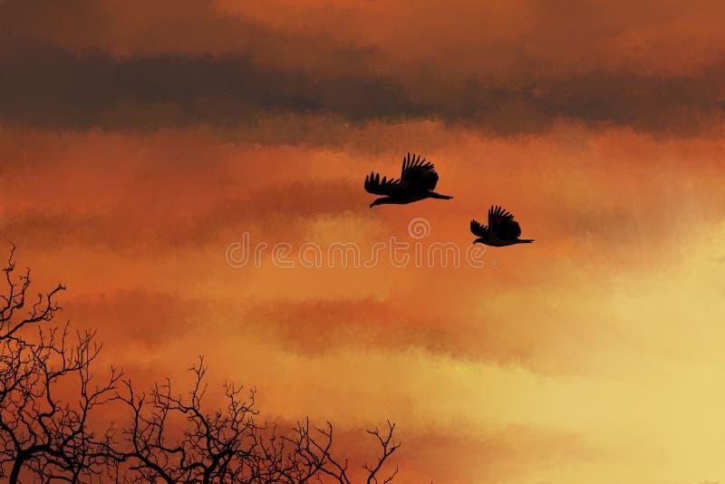 Schattenbilder von Vögeln und von Bäumen auf einem Sonnenunterganghintergrund vektor abbildung