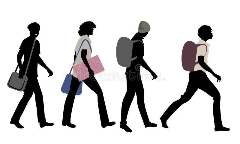Schattenbilder von vier Teenagern, die zur Schule gehen stock abbildung