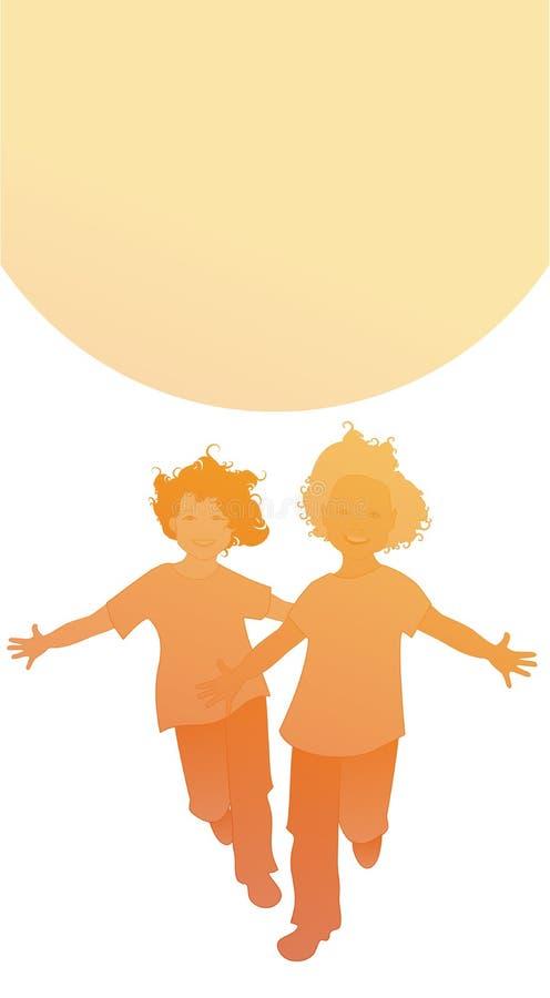 Schattenbilder von zwei glücklichen Jungen, die mit den offenen Armen vor der Sonne laufen Getrennt auf wei?em Hintergrund vektor abbildung