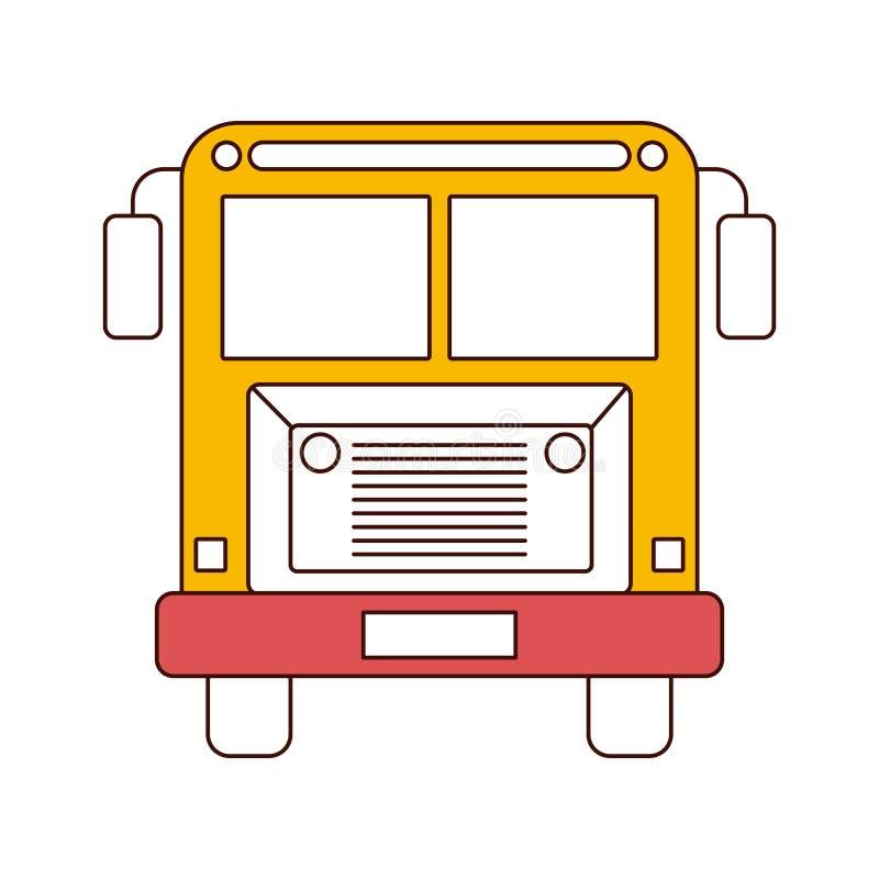 Schattenbildfarbabschnitte des Vorderansichtschulbusses mit Rädern vektor abbildung