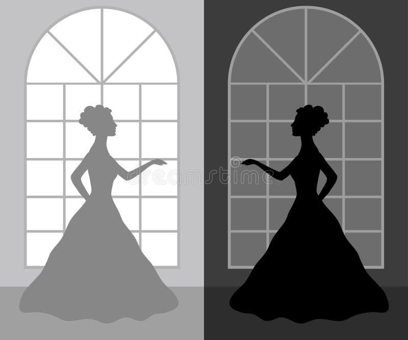 Schattenbildfrau in einem Ballkleid lizenzfreie abbildung