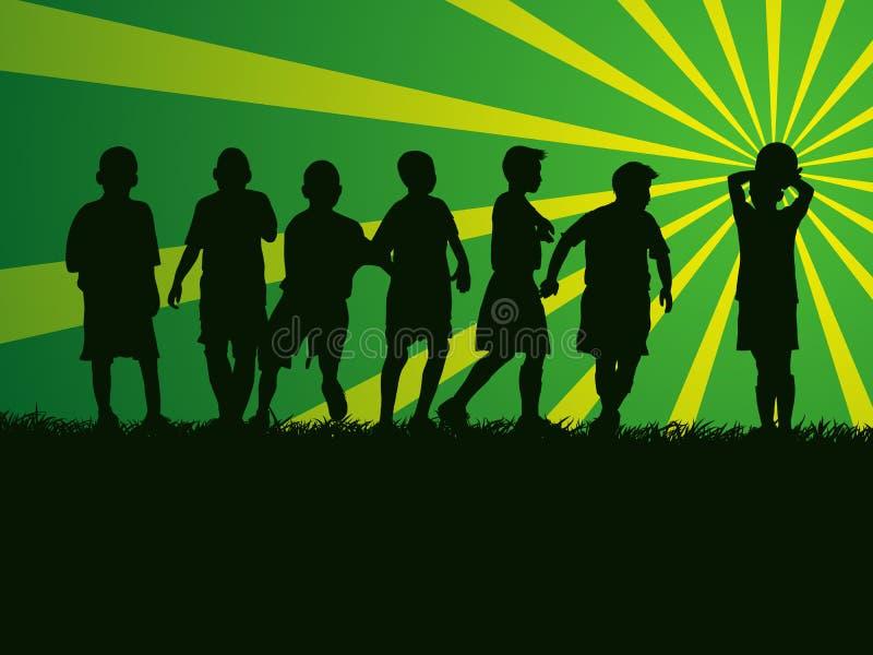 Schattenbildgruppe Kinder, die Fußball spielen vektor abbildung