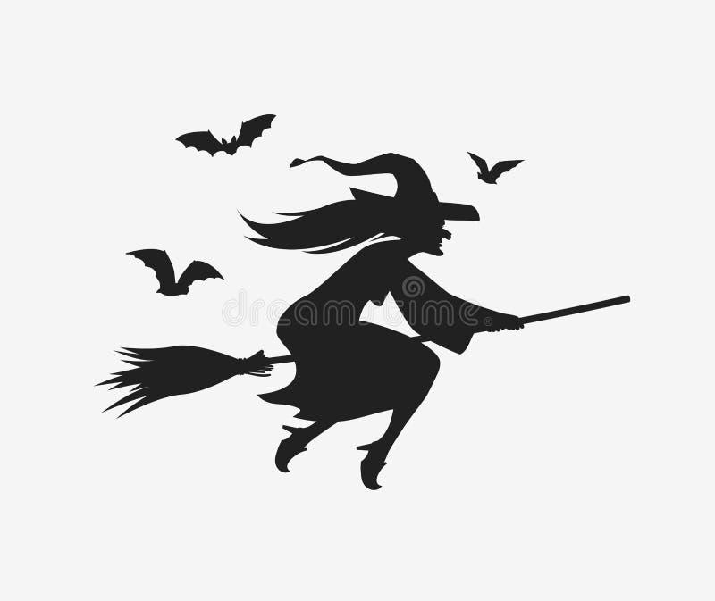 Schattenbildhexenfliegen auf Besenstiel Halloween-Vektor stock abbildung