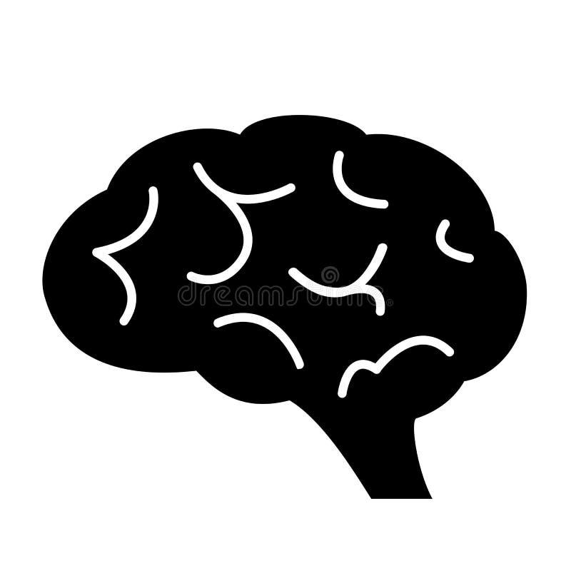 Schattenbildikone des menschlichen Gehirns lizenzfreie abbildung