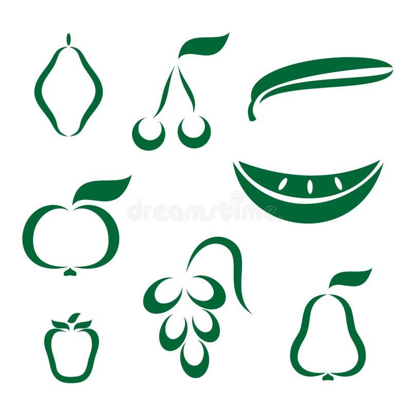 Schattenbildikonen der verschiedenen Frucht lizenzfreie abbildung