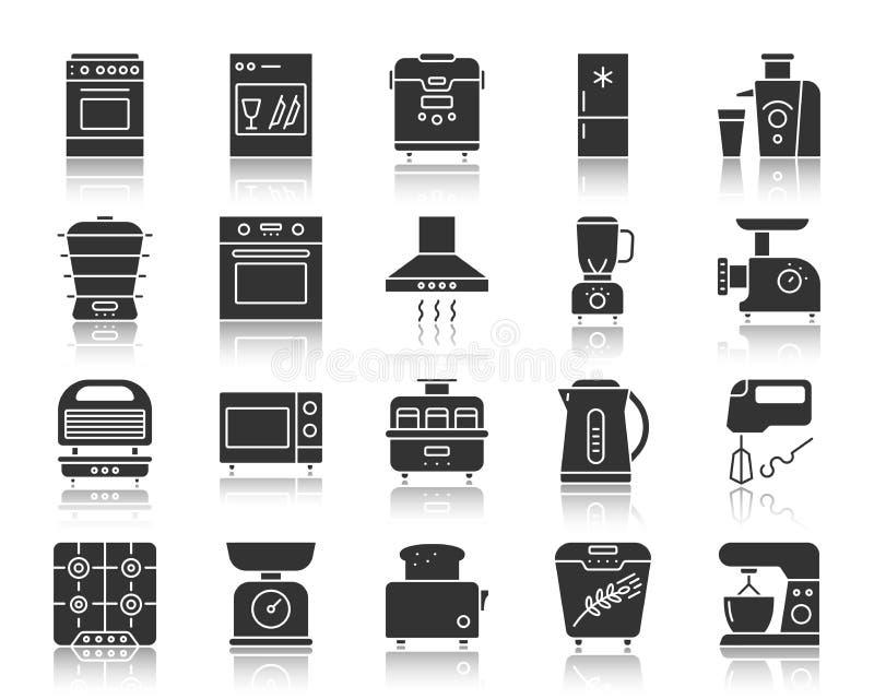 Schattenbildikonen-Vektorsatz des Küchengeräts schwarzer vektor abbildung