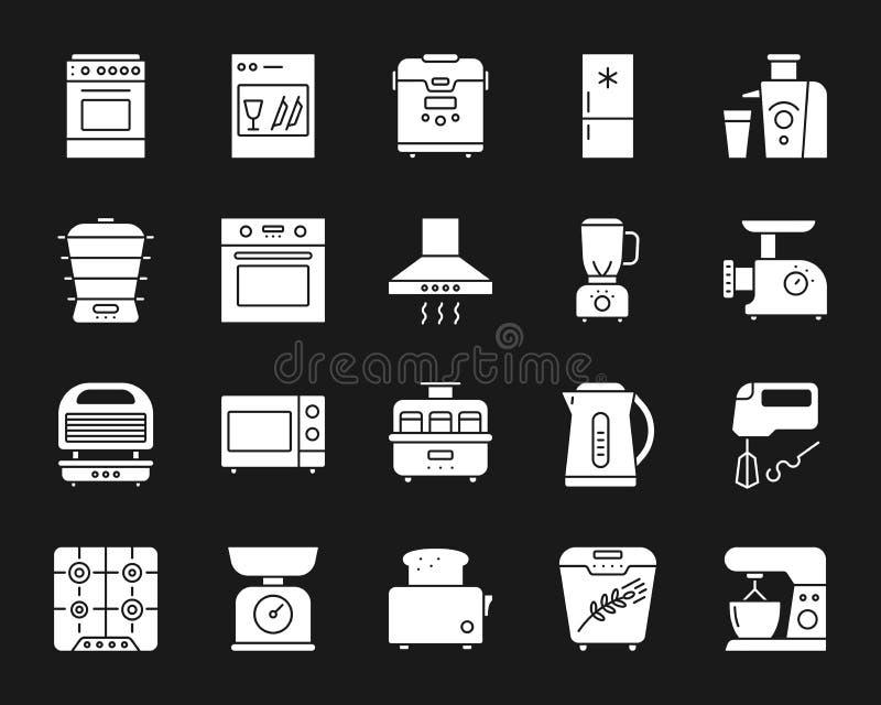 Schattenbildikonen-Vektorsatz des Küchengeräts weißer stock abbildung