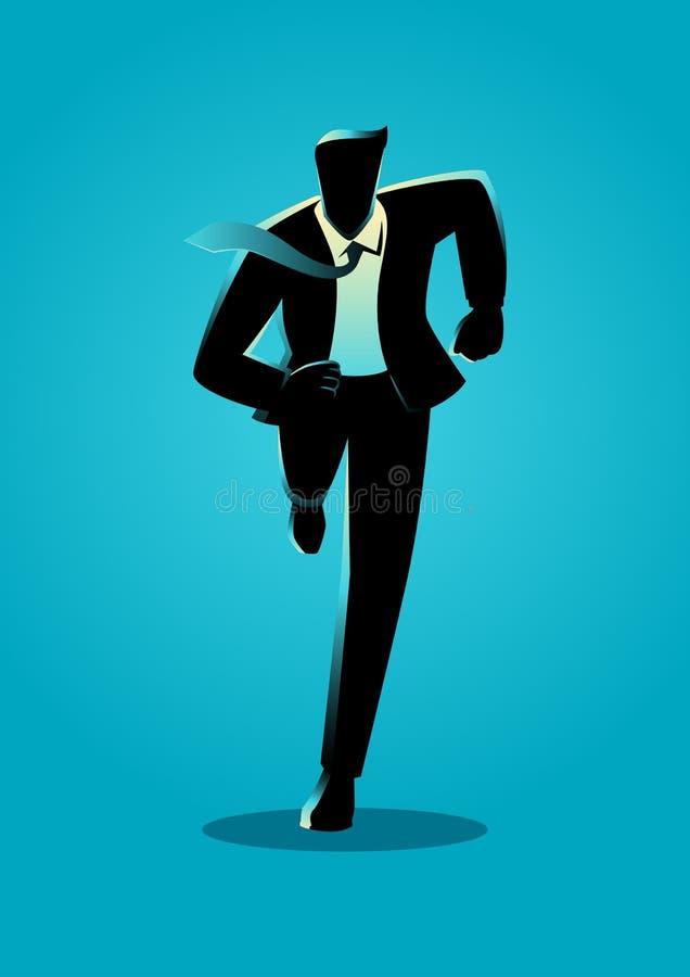 Schattenbildillustration eines Geschäftsmannbetriebs lizenzfreie abbildung