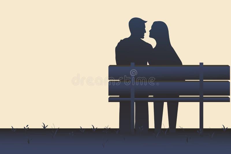 Schattenbildillustration eines Paares, das auf einer Bank sitzt vektor abbildung