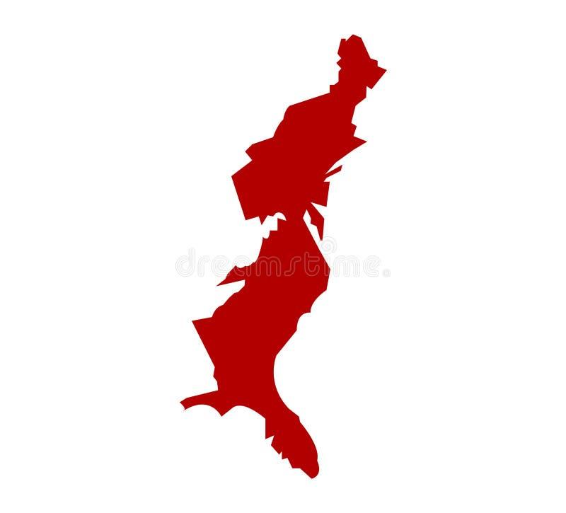 Schattenbildkarte von USA-Ostküste lizenzfreie abbildung