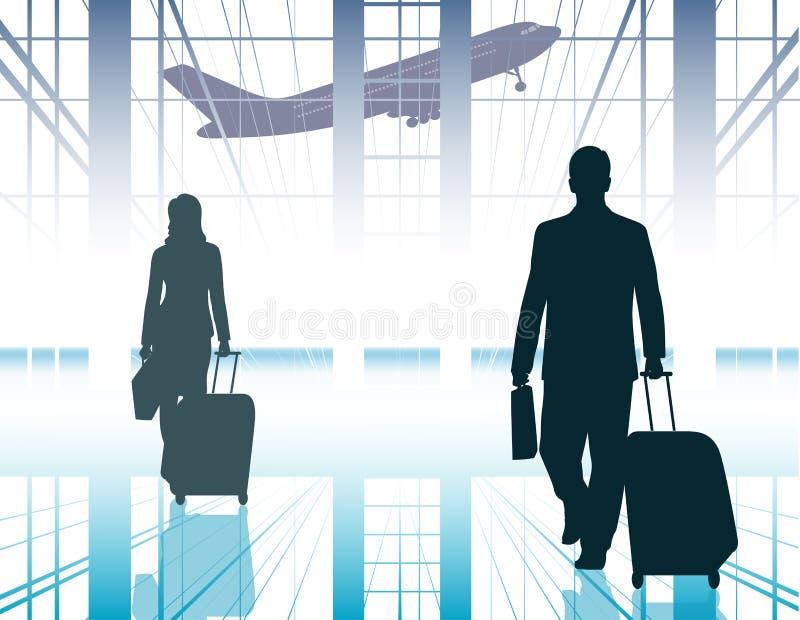 Schattenbildleute in einem Flughafen lizenzfreie abbildung