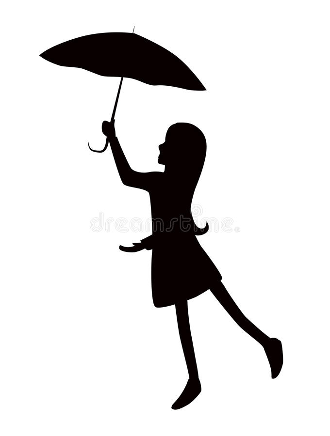 Schattenbildmädchen mit Regenschirm Editable Schichten lizenzfreies stockbild