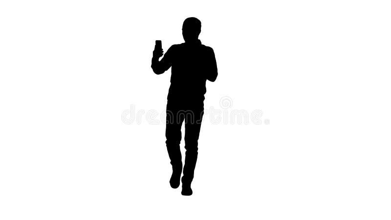 Schattenbildmann, der über Videoanruf am Telefon spricht mit jemand wellenartig bewegendes hallo während videochat Gespräches nen lizenzfreie abbildung