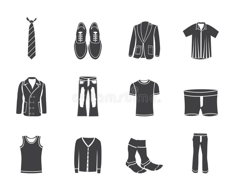 Schattenbildmannmode und Kleidungsikonen stock abbildung