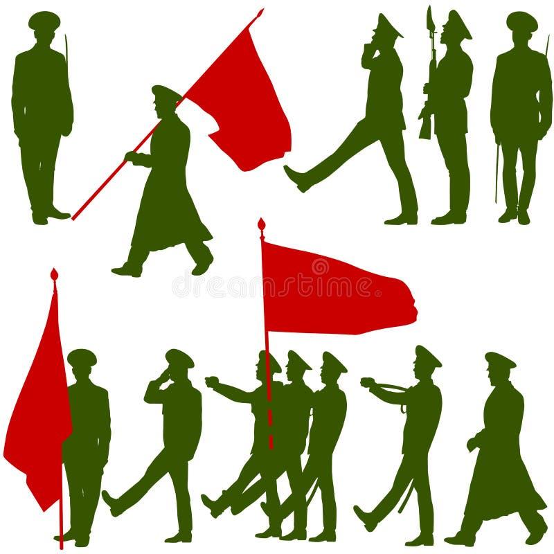 Schattenbildmilitärleute mit Flaggensammlung lizenzfreie abbildung