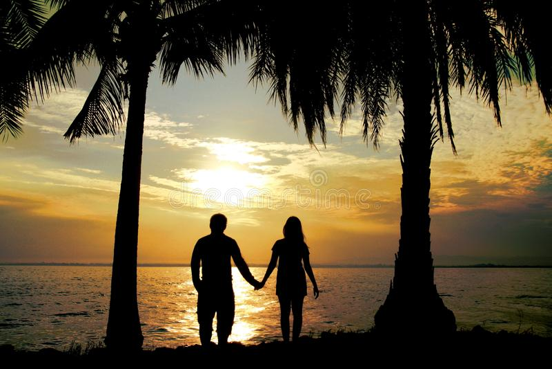 Schattenbildpaarstand-Griffhand vor dem Meer haben Kokosnussbaum, Blickliebe, so süß und romantisch stockbild