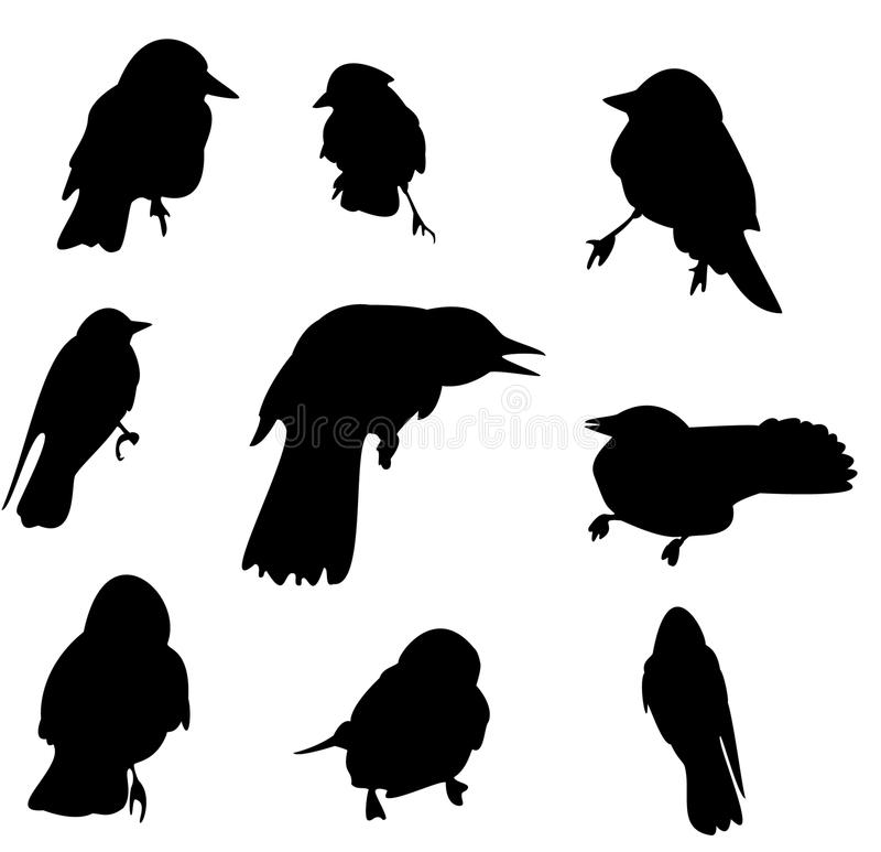 Schattenbildsatz mit neun Krähen stock abbildung