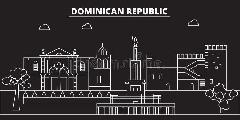 Schattenbildskyline der Dominikanischen Republik Vektorstadt der Dominikanischen Republik, dominikanische lineare Architektur, bu stock abbildung