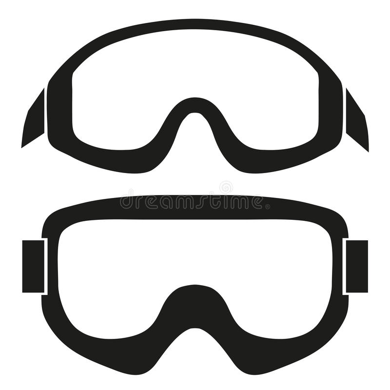 Schattenbildsymbol von klassischen Snowboardskischutzbrillen vektor abbildung