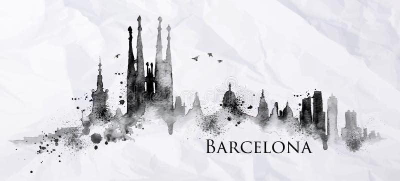 Schattenbildtinte Barcelona stock abbildung