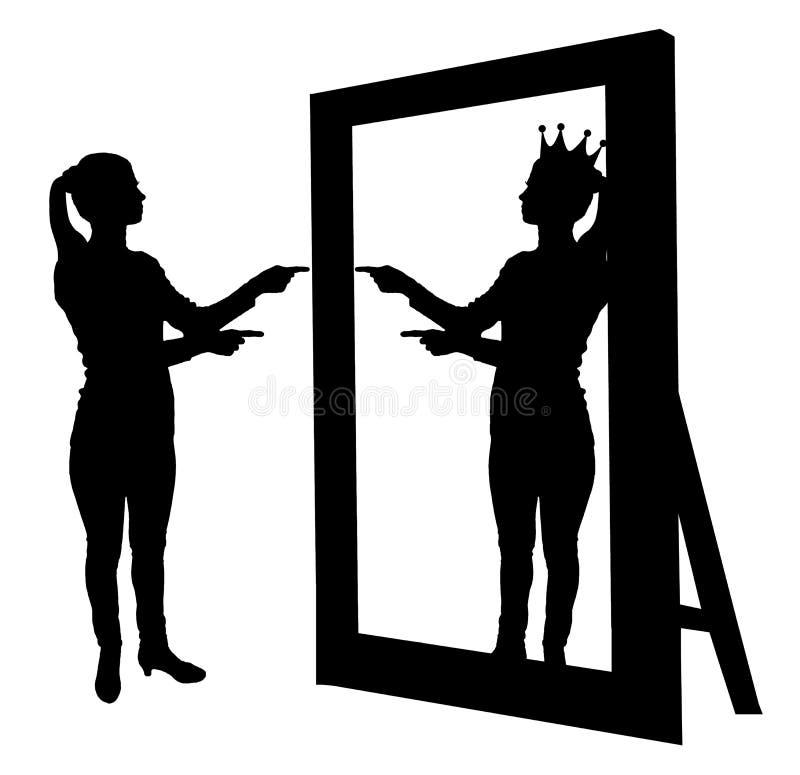 Schattenbildvektor einer narzisstischen Frau hebt ihre Selbstachtung vor einem Spiegel an lizenzfreie abbildung