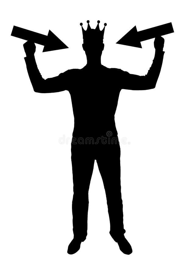 Schattenbildvektor eines egoistischen Mannes mit einer Krone auf seinem Kopf versucht, Aufmerksamkeit zu erregen, indem er Zeiger lizenzfreie abbildung